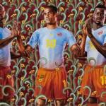 次回南アフリカワールドカップのプーマキャンペーンポスターが原宿中の街角に!アフリカの空の青と大地の茶色を使ったカラーリング。
