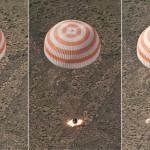 想像からかけ離れている!真っ黒に焼けながら地球へ落ちてくる、あまりにも小さなロシア宇宙船ソユーズから、野口さんら宇宙飛行士が救出される写真。