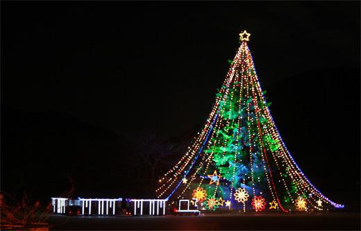 神奈川県宮ヶ瀬ダムの28mのジャンボクリスマスツリーを見てきました。