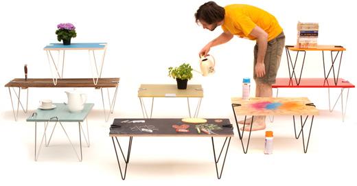 天板さえあれば、簡単にスタイリッシュなテーブルが作れてしまう優れもの!ちょっと変わったテーブルDIY!